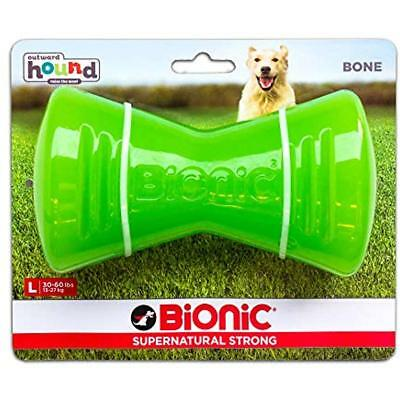 Tough Chew Toys Rubber Dog Bone, Durable For Large Dogs By Bionic, Large, Green
