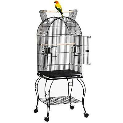 "59"" Rolling Large Standing Dome Bird Cage With Open Top-Stand Included"