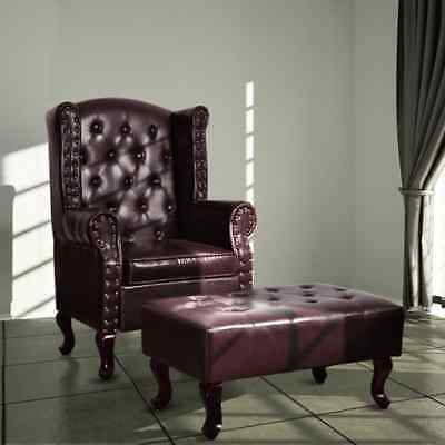 Vintage Chesterfield Chair Stool Bench Set Brown Home Leather Wingback Armchair