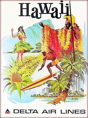 Hawaii Delta Air Lines United States Vintage Travel Advertisement Poster Print