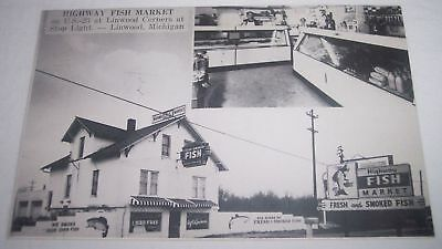 Highway Fish Market Linwood Michigan Roland and Dorothy Fiebke old postcard