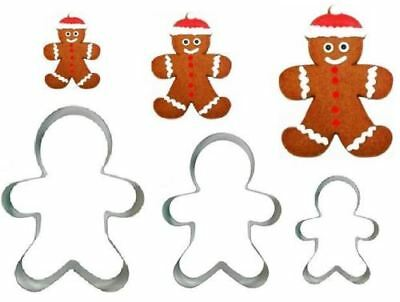 SET OF 3 GINGERBREAD MAN COOKIE CUTTER Stainless Steel Biscuit Pastry CHRISTMAS