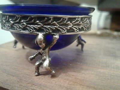 Two Antique Cherub Footed salter sterling silver 800 hallmarked Vintage