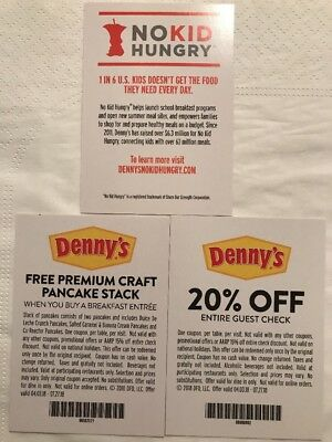 No Kid Hungry Dennys Coupon Card Lot Of 2