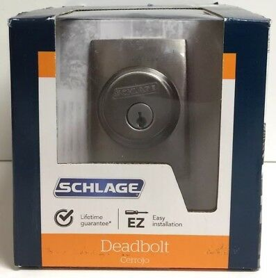 (New) Schlage B60 N CEN 619 Single Cylinder Deadbolt Satin Nickel