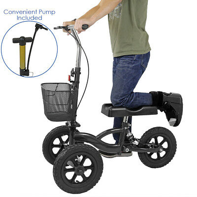 Clevr All Terrain Foldable Medical Steerable Knee Walker Scooter Roller, Black