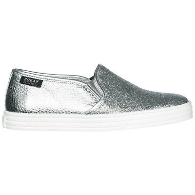 Hogan Rebel Slip On Donna In Pelle Sneakers Nuove Originali R141 Argento 38A c905ea8816f