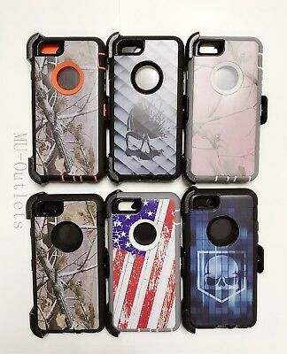 Camo Case With Clip For iPhone 6S & 6S Plus (Clip fits With Otterbox Defender)