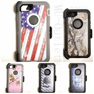 Camo Case With Clip For iPhone 7 / 8 / PLUS (Clip fits With Otterbox Defender)