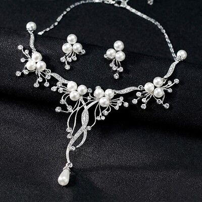 Wedding Party Prom Bridal Jewelry Diamante Crystal Pearl Necklaces Earrings Sets