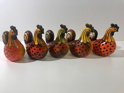 """5 Vintage Mid Century ARDCO Chicken Rooster Figurines Folk Art Roosters 6"""" Tall"""