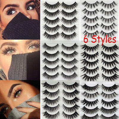 SKONHED 5 Pairs 3D Faux Mink Hair False Eyelashes Cross Long Lashes Handmade