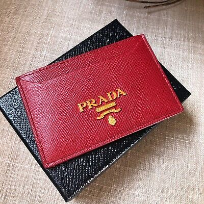 eb2daedf NEW PRADA RED Saffiano Leather Card Case Holder Gold Hw Wallet