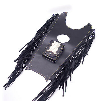 Black Fringed PU Leather Tank Bib Gas Tank Bag Pad Pouch Cover For Harley Honda