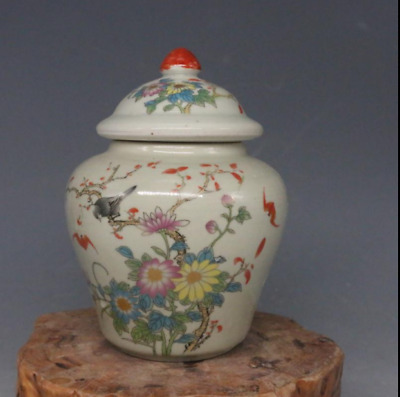 Qing Dynasty  Pastel  Flower and bird map  Tea canister