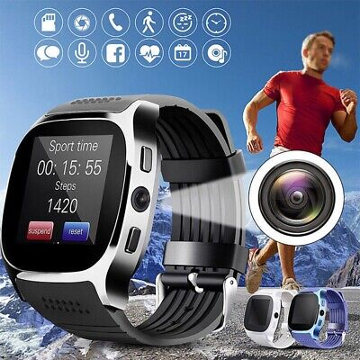 T8 Montre Intelligente Bluetooth Carte micro SIM podomètre pr Android iOS Apple