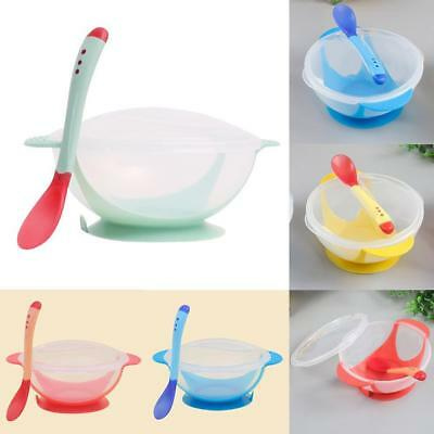 Baby Kid Learnning Dishes With Suction Cup Assist Food Bowl Spoon + cover.