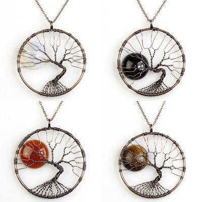 Opalite Agate Tiger's Eye Tree of Life Chakra Copper Round Pendant Necklace