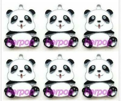 Lot 20pcs cartoon Eat fingers Cute panda DIY Metal Charm Pendants Jewelry Making