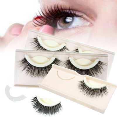 1 pair Self-adhesive False Eyelashes 3D Mink Hair Long Fluffy Extension Tools