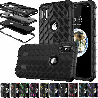 For iPhone X 6s 7 6 Plus Heavy Duty Rugged Rubber Armor Accessory Case Cover