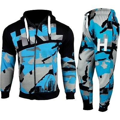 Kids Boys Tracksuit Blue HNL Camouflage Hoodie Bottom Jog Suit New Age 7-13 Year