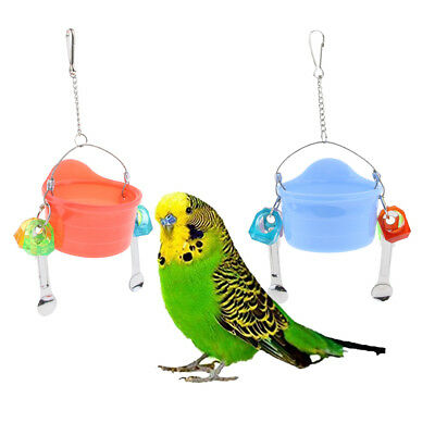Birds Parrots Stand Hanging Plastic Food Cup Holder Swing with 2 Spoons Red/Blue