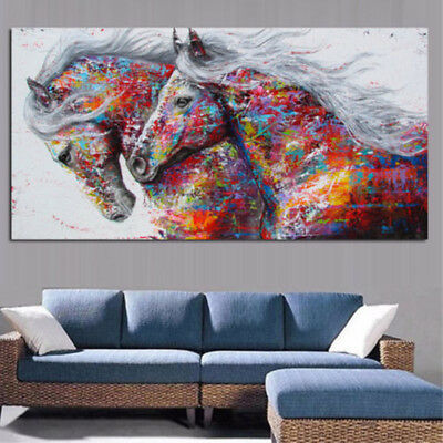 Large Abstract Hand-Painted Horse Oil Painting Home Decor Canvas Art Wall