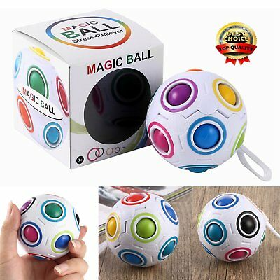 Magic Rainbow Ball Magic Cube Toy Kids Child Educational Toys Stress Reliever FD
