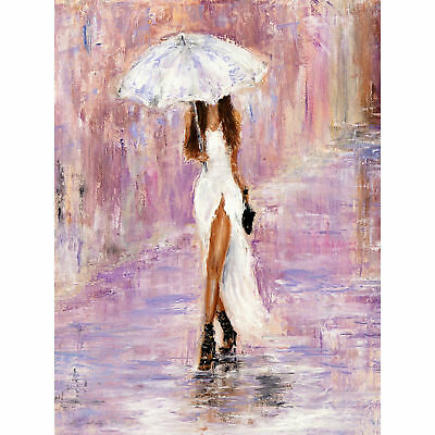 Woman In The Rain With Umbrella Large Wall Art Print Canvas Premium Poster