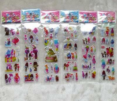 New Lot 50 sheets 3D Trolls mix small Stickers Children's Party Gifts 21x7.5cm