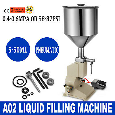 a02 pneumatic liquid paste filling machine 5 50ml cream bottling