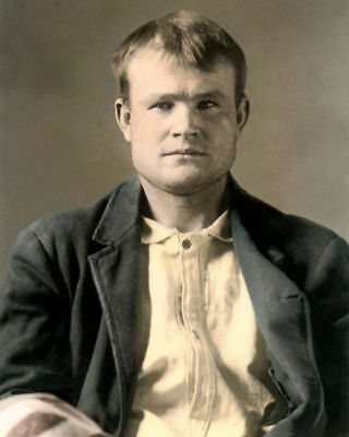 """BUTCH CASSIDY TRAIN ROBBER & OUTLAW 1894 8x10"""" HAND COLOR TINTED PHOTOGRAPH"""