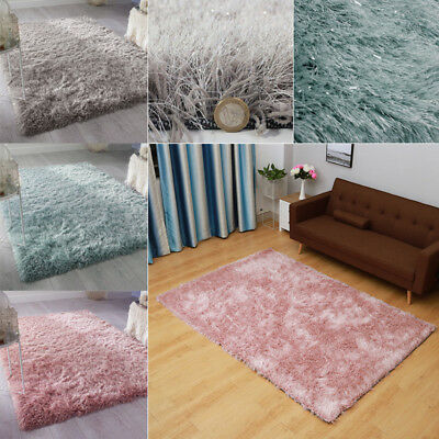 Soft 6cm Long Pile Thick Shaggy Shiny Silky Rug Mat Shimmer Dazzle Sparkle Room