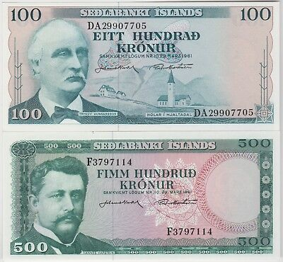 TWO ICELAND BANKNOTES IN CRISP NEAR MINT CONDITION P44a & P45a 100 & 500 KRONER