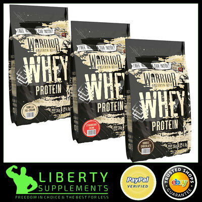 Warrior Whey Protein Powder Lean Muscle Shake Low Carbs 1kg + Free Protein Bar