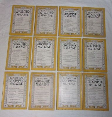 National Geographic 1947 complete year lot of 12 issues: color photos, Coke ads