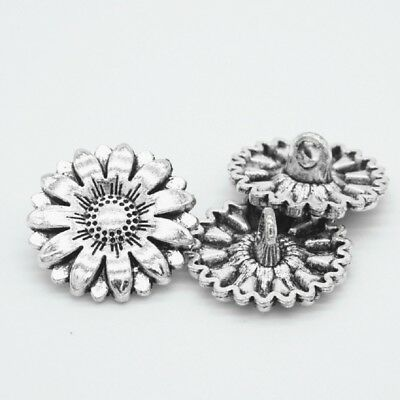 10pcs Metal Sunflower Carved Antique Sewing Craft DIY Silver Shank Buttons NEW