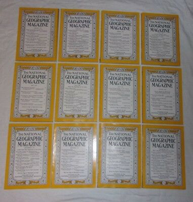 National Geographic 1956 complete year lot of 12 issues: '57 Chevy ad, Coke ads