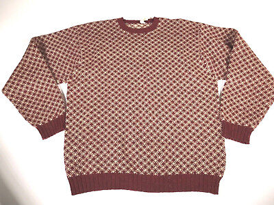 5d1b69d1abe4 MENS CHECKERED WOOL Sweater Size Large Company Store Oversized Red ...
