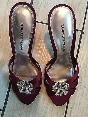 279866794d45 Roberto Vianni Size 39 (uk 6) Burgandy with Silver and Gems Satin Mules 4.5
