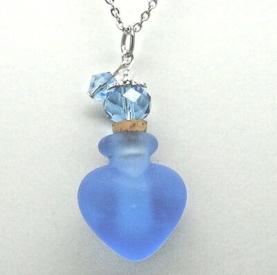 Frosted Blue Art Glass Heart Cremation Urn Necklace || Ashes Keepsake