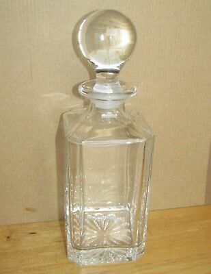 Lovely Heavy Cut Glass Whisky/Spirits Decanter with Solid Glass Knob Stopper