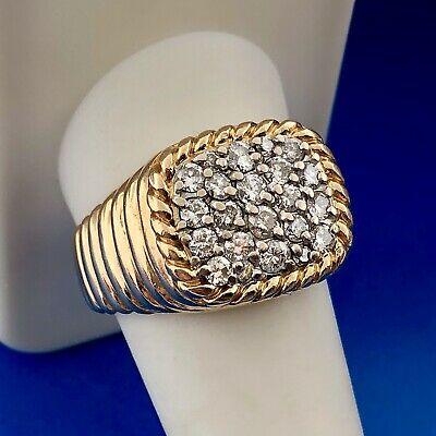 Estate Art Deco 14K Yellow Gold Unisex Diamond Cluster Statement Dome Ring