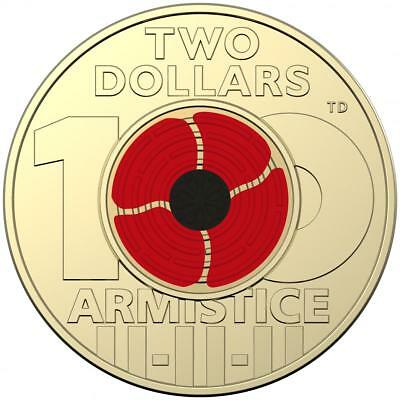 1 X 2018 REMEMBRANCE DAY ARMISTICE CENTENARY $2 COLOURED COIN Uncirculated