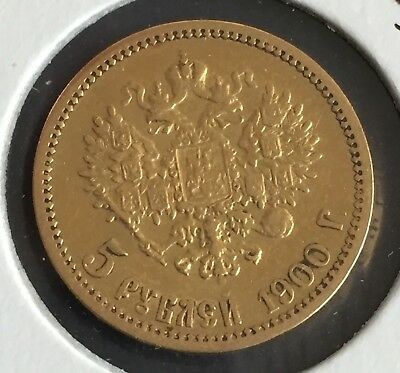 Russia 1900 Nicholas II 5 Roubles Gold Coin VF