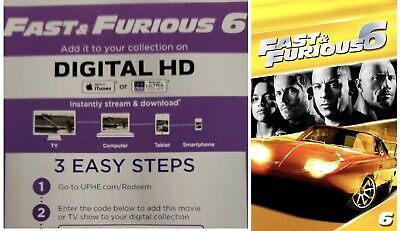 Fast & Furious 6 Digital Code Only - HD - Redeems iTunes or UltraViolet - Canada