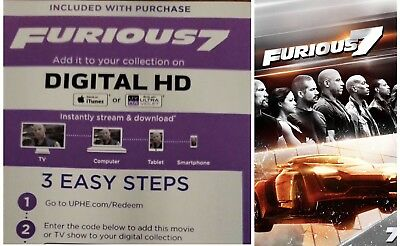 Fast & Furious 7 Digital Code Only - HD - Redeems iTunes or UltraViolet - Canada