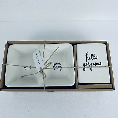 RAE DUNN Hello Gorgeous/You're Pretty Two Piece Set. New.