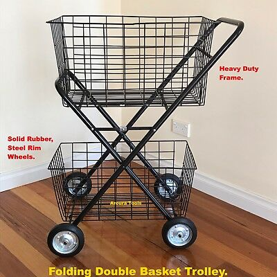 Shopping Trolley, Double Basket, Single Folding wire or Vinyl Bag , BRAND NEW.